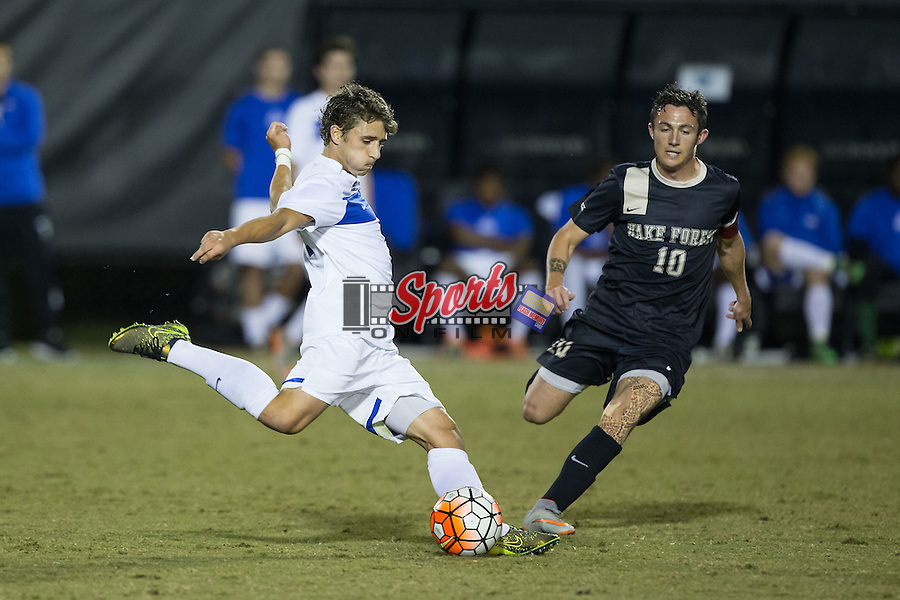 Lukas Joyner (18) of the Georgia State Panthers during first half action against the Wake Forest Demon Deacons at Spry Soccer Stadium on October 20, 2015 in Winston-Salem, North Carolina.  The Demon Deacons defeated the Panthers 5-0.  (Brian Westerholt/Sports On Film)