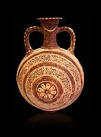 Minoan decorated flask with concentric decorative bands design , Konssos  Temple Tomb 1400-1250 BC; Heraklion Archaeological Museum, black background