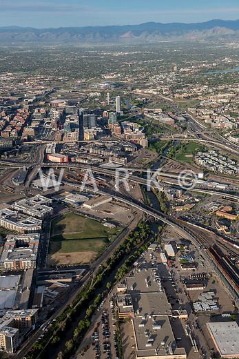 Denver skyline with Platte River