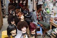 TOGO, Lome, Grande Marche, Grand market, booth with wigs and artificial hair / Grosser Markt, Verkauf von kuenstlichem Haar und Peruecken