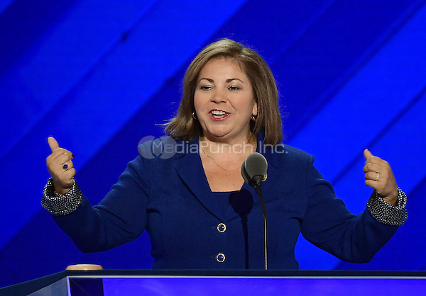 United States Representative Linda Sanchez (Democrat of California) makes remarks at the 2016 Democratic National Convention at the Wells Fargo Center in Philadelphia, Pennsylvania on Monday, July 25, 2016.<br /> Credit: Ron Sachs / CNP/MediaPunch<br /> (RESTRICTION: NO New York or New Jersey Newspapers or newspapers within a 75 mile radius of New York City)