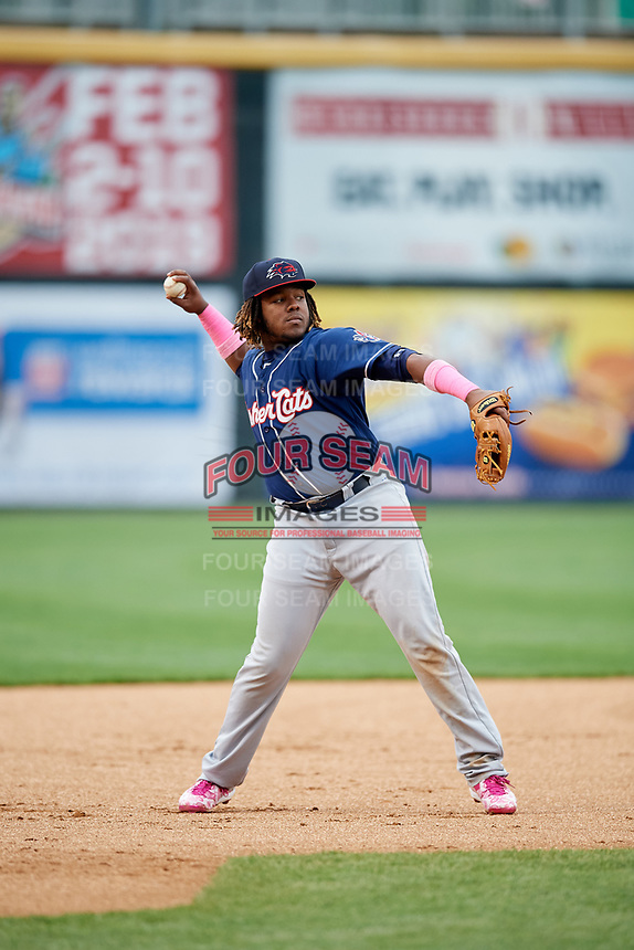 New Hampshire Fisher Cats third baseman Vladimir Guerrero Jr. (27) throws to first base during the second game of a doubleheader against the Harrisburg Senators on May 13, 2018 at FNB Field in Harrisburg, Pennsylvania.  Harrisburg defeated New Hampshire 2-1.  (Mike Janes/Four Seam Images)