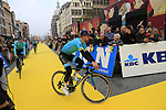 Astana Pro Team at the team presentation in Antwerp before the start of the 2019 Ronde Van Vlaanderen 270km from Antwerp to Oudenaarde, Belgium. 7th April 2019.<br /> Picture: Eoin Clarke | Cyclefile<br /> <br /> All photos usage must carry mandatory copyright credit (&copy; Cyclefile | Eoin Clarke)