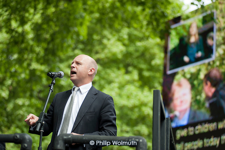 Liam Byrne, Shadow Work and Pensions Secretary. The Hardest Hit.  London march organised by the UK Disabled People's Council to protest at government cuts to disability benefits, allowances and services.