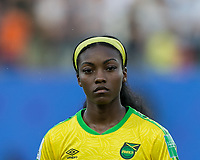 GRENOBLE, FRANCE - JUNE 18: Cheyna Matthews #20 of the Jamaican National Team during a game between Jamaica and Australia at Stade des Alpes on June 18, 2019 in Grenoble, France.