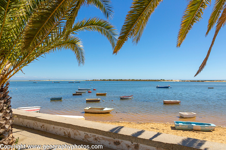 Boats in lagoon behind offshore sandbar, framed by palm trees, Vila Nova de Cacela, Algarve, Portugal, Southern Europe - Ria Formosa Natural Park