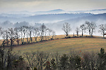 Fog burns off in the hills on a warm winter day. Lycoming County, PA.