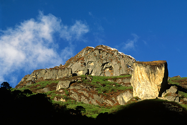 ROCK FORMATION above the Barun river in the MAKALU BARUN NATIONAL PARK,  NEPAL