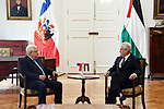 Palestinian President Mahmoud Abbas meets with Chilean President Sebastian Pinera at La Moneda Palace in Santiago, Chile, 09 May 2018. Photo by Thaer Ganaim