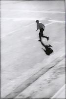 Man running across street
