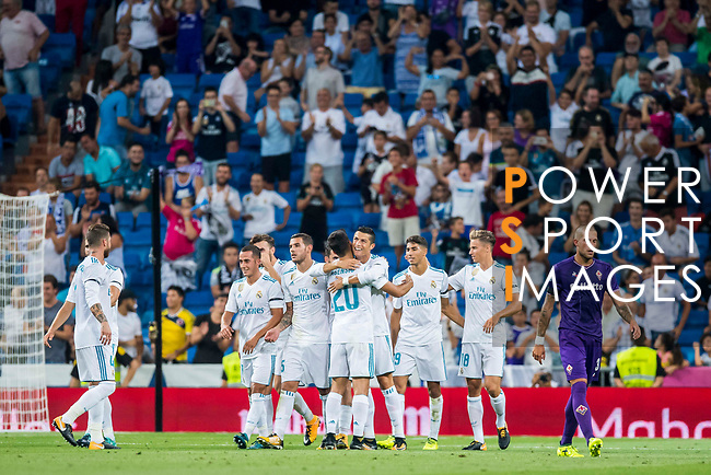 Cristiano Ronaldo of Real Madrid celebrates with teammate Marco Asensio Willemsen during the Santiago Bernabeu Trophy 2017 match between Real Madrid and ACF Fiorentina at the Santiago Bernabeu Stadium on 23 August 2017 in Madrid, Spain. Photo by Diego Gonzalez / Power Sport Images