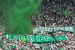 12.05.2018, OPEL Arena, Mainz, GER, 1.FBL, 1. FSV Mainz 05 vs SV Werder Bremen<br /> <br /> im Bild<br /> Werder Bremen Fans feiern den Abstieg von Hamburger SV / HSV in die 2. Liga mit Bannern, Spruchb&auml;ndern, Applaus, Jubel, Pyrotechnik, Gesang, Stadionuhr &quot;Game over !!&quot;, <br /> <br /> Foto &copy; nordphoto / Ewert