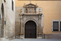 Doorway to Sant Jordi and Sant Domenec convent, Royal Schools, 16th century, Tortosa, Tarragona, Spain. Founded by Charles V for the purpose of educating the Moors, they are some of the best examples of Renaissance civil architecture in Catalonia. Picture by Manuel Cohen