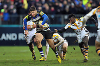 Matt Banahan of Bath Rugby takes on the Wasps defence. Aviva Premiership match, between Bath Rugby and Wasps on February 20, 2016 at the Recreation Ground in Bath, England. Photo by: Patrick Khachfe / Onside Images