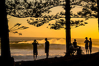 Snapper Rocks, Coolangatta, Queensland Australia. (Sunday March 16, 2014) Burleigh Heads line up at sunrise.&ndash;  The swell  was in the 6'-10' range today from the East. D-Bah was closing out and the Superbank while Currumbin and Burleigh<br />  were all big but unridable as the wind came up from the NW early and blew out the waves. . Photo: joliphotos.com