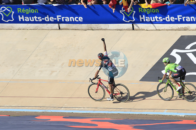 Greg Van Avermaet (BEL) BMC Racing wins the 115th edition of the Paris-Roubaix 2017 race running 257km Compiegne to Roubaix, France. 9th April 2017.<br /> Picture: Eoin Clarke | Cyclefile<br /> <br /> <br /> All photos usage must carry mandatory copyright credit (&copy; Cyclefile | Eoin Clarke)