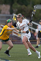 Boston College attacker Covie Stanwick (8) on the attack as University of Vermont midfielder Natalie Jones (2) defends. Boston College defeated University of Vermont, 15-9, at Newton Campus Field, April 4, 2012.