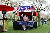 Nederland   Amstelveen   2017 04 08. Cherry Blossom Festival in het Amsterdamse Bos . Het Japanse Sakura (Kersenbloesemfestival) markeert de start van de lente. Volgens traditie vieren families en vrienden dit met een picknick onder de kersenbomen die in bloei staan. De gemeente Amstelveen organiseert dit festival voor de Japanse gemeenschap, als dank voor de schenking van 400 kersenbomen in 2000. Tako Yaki Japanse Poffertjes.  Berlinda van Dam / Hollandse Hoogte