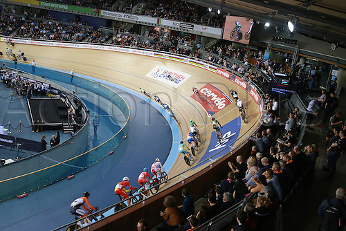02.032016. Lee Valley Velo Centre, London England. UCI Track Cycling World Championships Men's scratch race Final.  The field takes the high corner