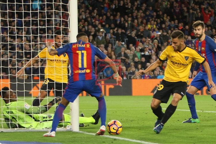 League Santander 2016/2017. Game: 12.<br /> FC Barcelona vs Malaga CF: 0-0.<br /> Neymar Jr. vs Luis.