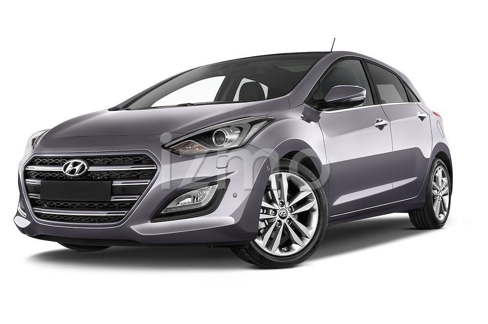 Stock pictures of low aggressive front three quarter view of 2015 Hyundai I30 Joy 5 Door Hatchback