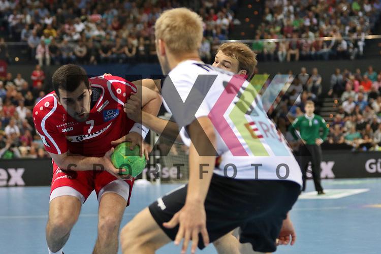 Kiel, 14.06.15, Sport, Handball, L&auml;nderspiel, EM-Qualifikation, Deutschland - &Ouml;sterreich : Janko Božovic (Brest GK Meschkow / &Ouml;sterreich, #07), Matthias Musche (SC Magdeburg / Deutschland, #37)<br /> <br /> Foto &copy; P-I-X.org *** Foto ist honorarpflichtig! *** Auf Anfrage in hoeherer Qualitaet/Aufloesung. Belegexemplar erbeten. Veroeffentlichung ausschliesslich fuer journalistisch-publizistische Zwecke. For editorial use only.