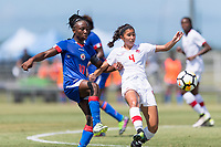 Bradenton, FL - Sunday, June 12, 2018: Melchie Dumonay, Sonia Walk prior to a U-17 Women's Championship 3rd place match between Canada and Haiti at IMG Academy. Canada defeated Haiti 2-1.