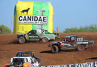 Apr 16, 2011; Surprise, AZ USA; LOORRS driver Casey Currie (2) leads Austin Kimbrell (88) during round 3 at Speedworld Off Road Park. Mandatory Credit: Mark J. Rebilas-.