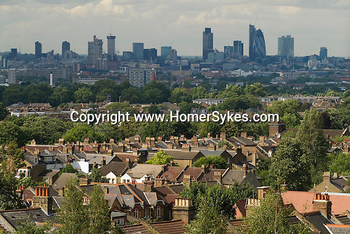 London skyline. The City of London suburban south London housing. UK