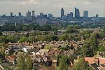 London skyline. The City of London suburban south London housing. UK