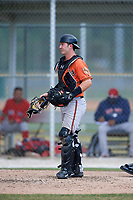Baltimore Orioles catcher Ben Breazeale (23) during a Minor League Spring Training game against the Boston Red Sox on March 20, 2018 at Buck O'Neil Complex in Sarasota, Florida.  (Mike Janes/Four Seam Images)