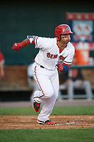 Harrisburg Senators first baseman Jose Marmolejos (3) runs to first base during a game against the Bowie Baysox on May 16, 2017 at FNB Field in Harrisburg, Pennsylvania.  Bowie defeated Harrisburg 6-4.  (Mike Janes/Four Seam Images)