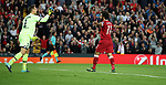Mohamed Salah of Liverpool celebrates during the Champions League playoff round at the Anfield Stadium, Liverpool. Picture date 23rd August 2017. Picture credit should read: Lynne Cameron/Sportimage