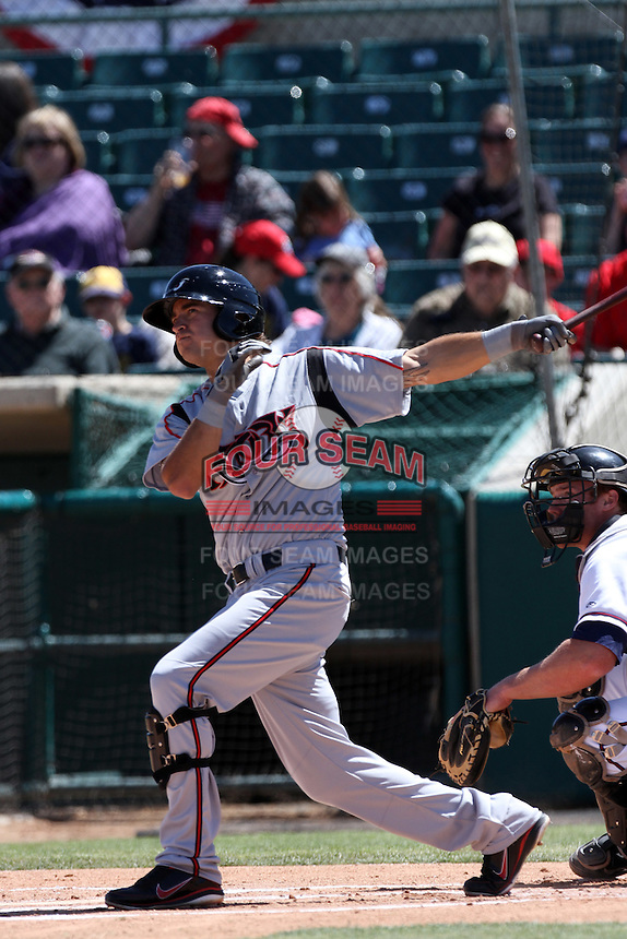 Michael Wing #3 of the Lake Elsinore Storm bats against the Lancaster JetHawks at Clear Channel Stadium on April 15, 2012 in Lancaster,California. Lake Elsinore defeated Lancaster 7-5.(Larry Goren/Four Seam Images)