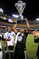 DC United defender Gonzalo Martinez (23) celebrates the victory, DC United defeated The Charleston Battery 2-1 to win the US. Open Cup,Wednesday September 3, 2008 at RFK Stadium.