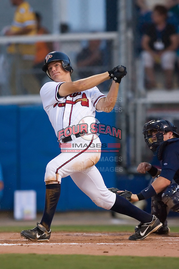Jon Gilmore (19) of the Danville Braves follows through on his swing at Dan Daniels Park in Danville, VA, Saturday, August 23, 2008. (Photo by Brian Westerholt / Four Seam Images)