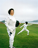 USA, California, portrait of woman Fencer practicing with her daughter, Tiburon