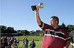 Puni captain S. Foster holds the Bob Chandler trophy aloft. Bob Chandler Memorial final - Senior 1 Championship, Puni vs Waiuku. Puni won 15 - 13. Counties Manukau club rugby finals played at Growers Stadium, Pukekohe, 24th of June 2006.