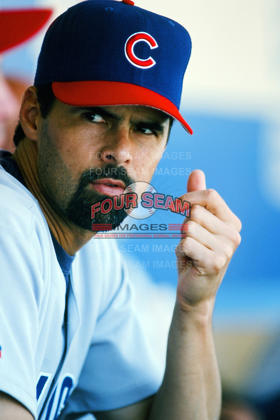 Rick Aguilera of the Chicago Cubs in the dugout before a 1999 Major League Baseball season game against the Los Angeles Dodgers in Los Angeles, California. (Larry Goren/Four Seam Images)