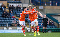 Cameron McGeehan of Luton Town celebrates his winning goal with Alan Sheehan of Luton Town during the Sky Bet League 2 match between Wycombe Wanderers and Luton Town at Adams Park, High Wycombe, England on 6 February 2016. Photo by Andy Rowland.