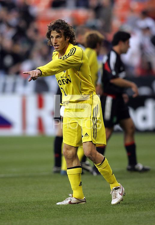 7 May 2005.  Columbus' Frankie Hejduk (2) organizes the defense versus DC United at RFK Stadium in Washington, DC.