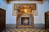 Berber Arabesque Mocarabe plasterwork fire surround.The Grand Court, Bahia Palace, Marrakesh, Morroco