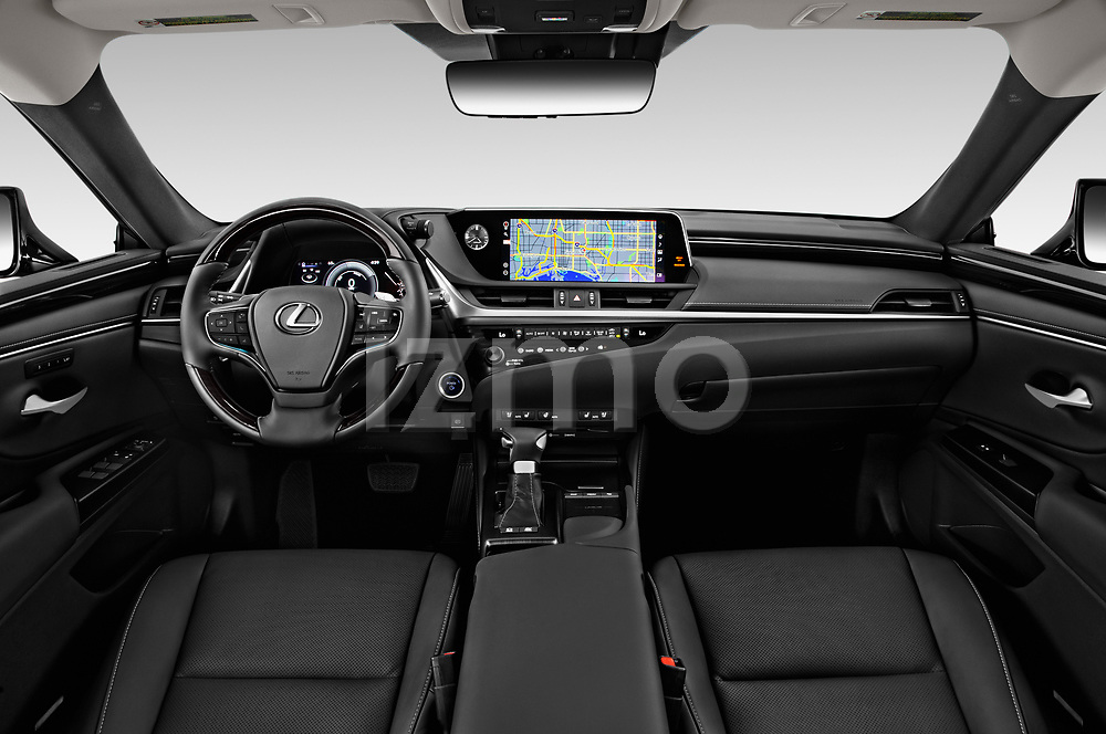 Stock photo of straight dashboard view of a 2020 Lexus ES 300h 4 Door Sedan