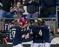 Foxborough, Massachusetts - April 6, 2018: In a Major League Soccer (MLS) match, New England Revolution (blue/white) defeated,4-0, Montreal Impact (white), at Gillette Stadium.<br /> Goal celebration.