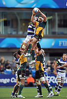 Tom Wood rises high to win lineout ball. Amlin Challenge Cup Final, between Bath Rugby and Northampton Saints on May 23, 2014 at the Cardiff Arms Park in Cardiff, Wales. Photo by: Patrick Khachfe / Onside Images