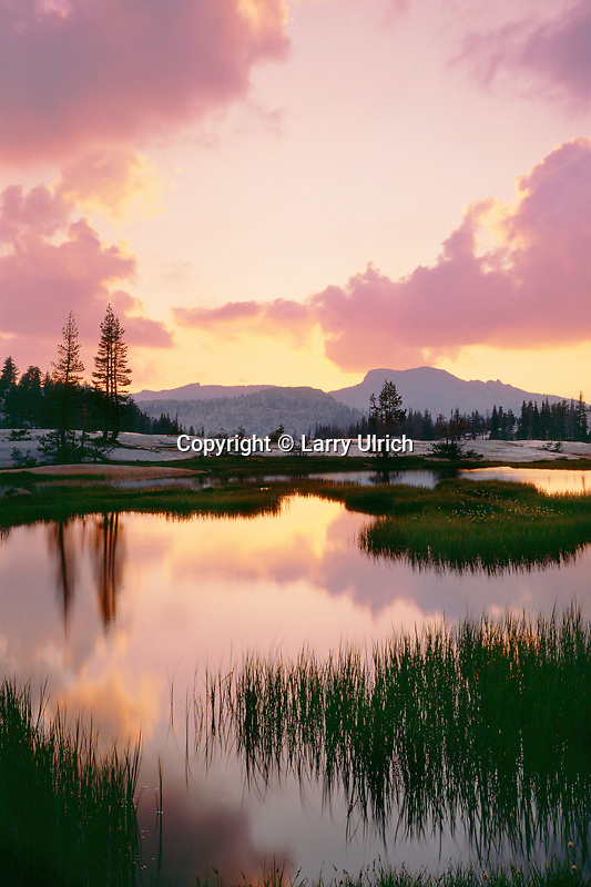 Sunset over Mt. Hoffman<br />   from Lower Cathedral Lake Basin<br /> Yosemite National Park<br /> Sierra Nevada, California