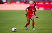 CARSON, CA - FEBRUARY 9: Ashley Lawerance #10 of Canada passes off the ball during a game between Canada and USWNT at Dignity Health Sports Park on February 9, 2020 in Carson, California.