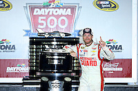 Dale Earnhardt Jr. celebrates after winning the Daytona 500, Daytona INternational Speedway, February 23, 2014. (Photo by Brian Cleary/www.bcpix.com)