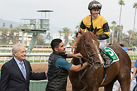 ARCADIA, CA FEBRUARY 10: #5 Kanthaka, ridden by Flavien Prat, in the winners circle after winning the  San Vicente Stakes (Grade ll) on February 10, 2018 at Santa Anita Park in Arcadia, CA. (Photo by Casey Phillips/ Eclipse Sportswire/ Getty Images)