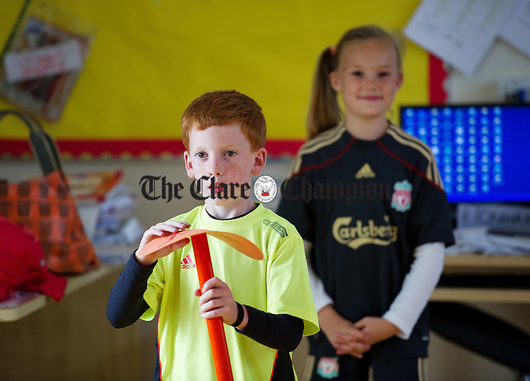 Jack and Meg playing a pizza delivery game during their Active Schools Week to celebrate St Flannan's  National School, Inagh's achievement in being the first primary school in Clare to attain the Active Schools Flag. Photograph by John Kelly.